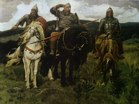 Images of a horse and a rider in Viktor Vasnetsov's paintings